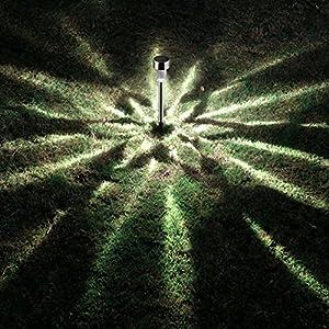 AUSHEN Solar Walkway Lights Outdoor Waterproof Stainless Steel LED Low Voltage Landscape Lighting Solar Powered Garden Pathway Lights(10 Pack)
