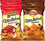 Cheetos Oven Baked Flamin' Hot & Lays Oven Baked Barbecue Less Fat More Flavor Snack Care Package for College, Military, Sports (Pack Of 4)