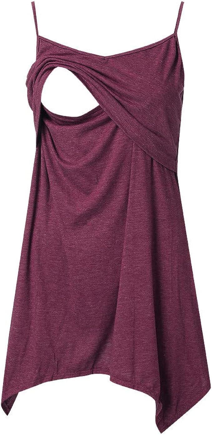 Womens Maternity Tank Tops V Neck Button Up Maternity Scrub Top Breastfeeding Tank Tops Sleeveless Pregnancy Shirt S-XXL
