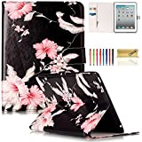 iPad 2/3/4 Case, Dteck(TM) Slim Flip PU Leather Wallet Case with Card Slots/Money Pouch Kickstand iPad Case Magnetic Closure Shell Full Body Protective Case Cover for Apple iPad 2 3 4,Pink Floral