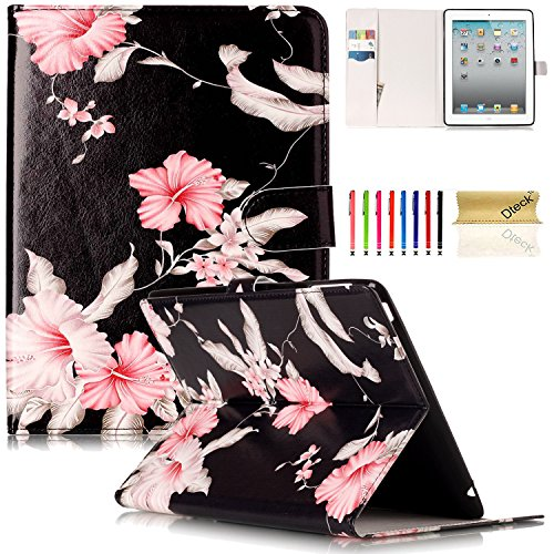 iPad 2/3/4 Case, Dteck(TM) Slim Flip PU Leather Wallet Case with Card Slots/Money Pouch Kickstand iPad Case Magnetic Closure Shell Full Body Protective Case Cover for Apple iPad 2 3 4,Pink Floral by Dteck