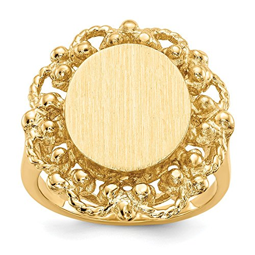 - Size 7.5 - Solid 14k Yellow Gold Engravable Signet Ring (2mm)