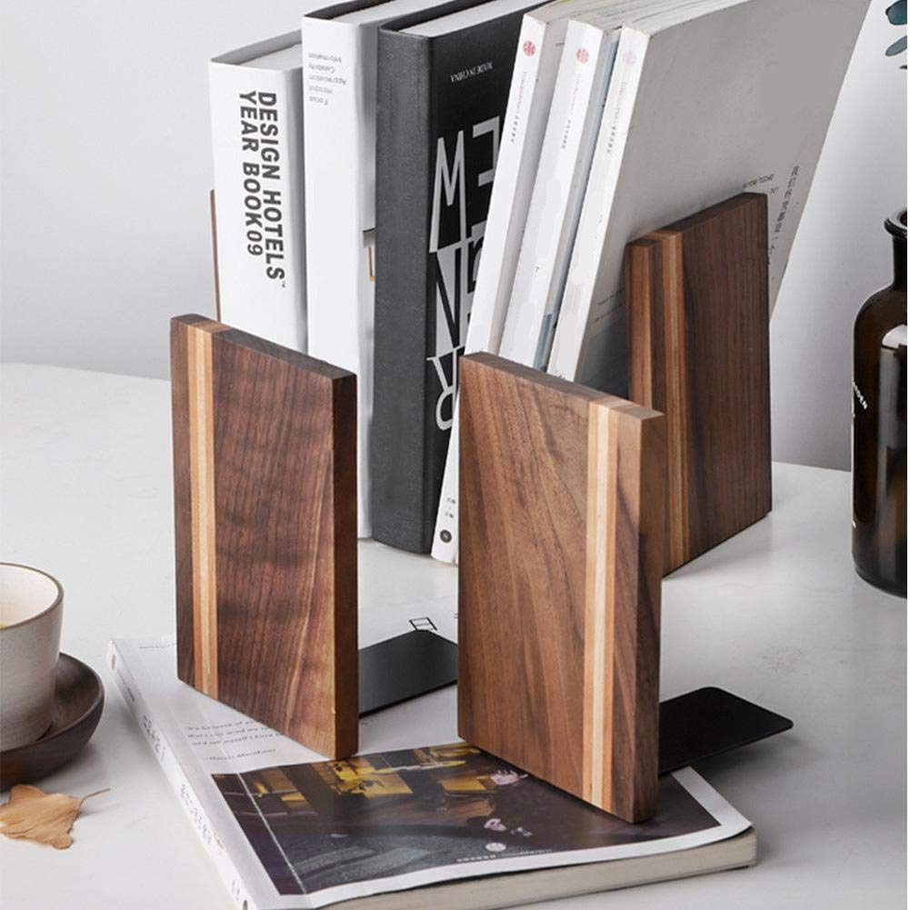 Heavy Duty Black Walnut Divisori Libro per Ripiani Design Unico kengbi Stand Book