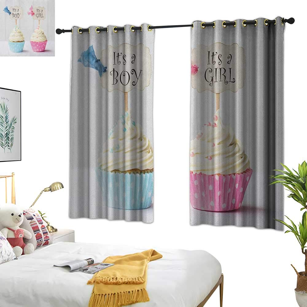 Warm Family Blue Curtains Gender Reveal,Boy and Girl with Cupcakes Yummy Chocolate Celebration Theme, Pale Blue and Pink Cream 54''x63'',Kids Blackout Thermal Curtain Panel by Warm Family