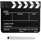 Mugast カチンコ 防水 撮影 スターターキット アクリル材質 高耐久 撮影用小道具 カチンコ チョーク 映画撮影用 小型黒板 30 * 24.8 * 1.8 cm(YK-L-D)