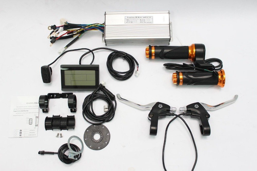 36V 48V 1500W Brushless DC Sine Wave Controller + 36V 48V LCD Control Panel + Twist Throttle +Brake Lever+PAS + Speed Sensor HalloMotor