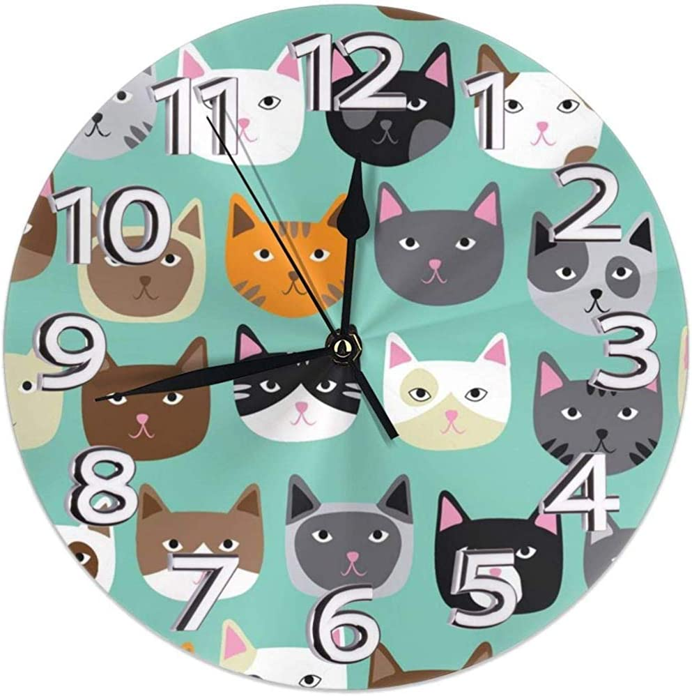 Kncsru Reloj de Pared Gatos Lindos Relojes Decorativos Impermeables Reloj de Pared Redondo Duradero Reloj liviano con Agujas de números Romanos: Amazon.es: Hogar