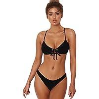 HOPEA Women's Criss Cross Drape Push-up Padded Bra Swimsuit Bathing Sexy Women Solid Straps Bikini Set Swimwear