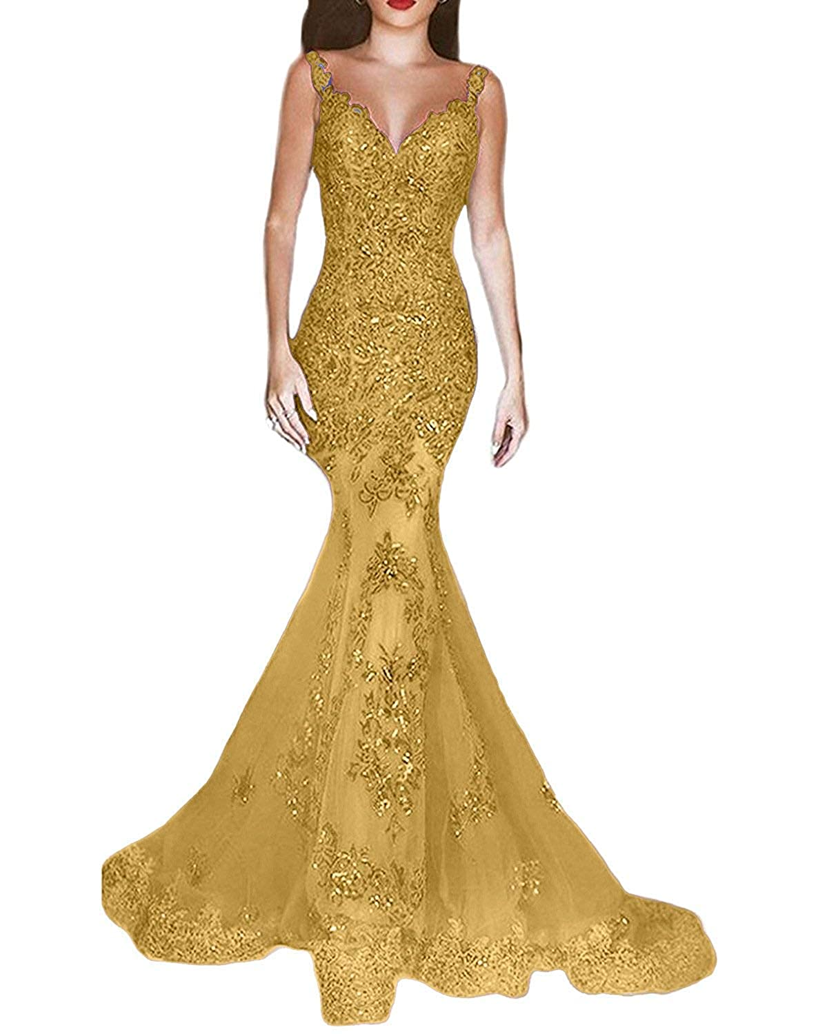 gold ASBridal Lace Evening Dress Mermaid Prom Dresses Long Sequin Formal Party Evening Gowns Sheer Back