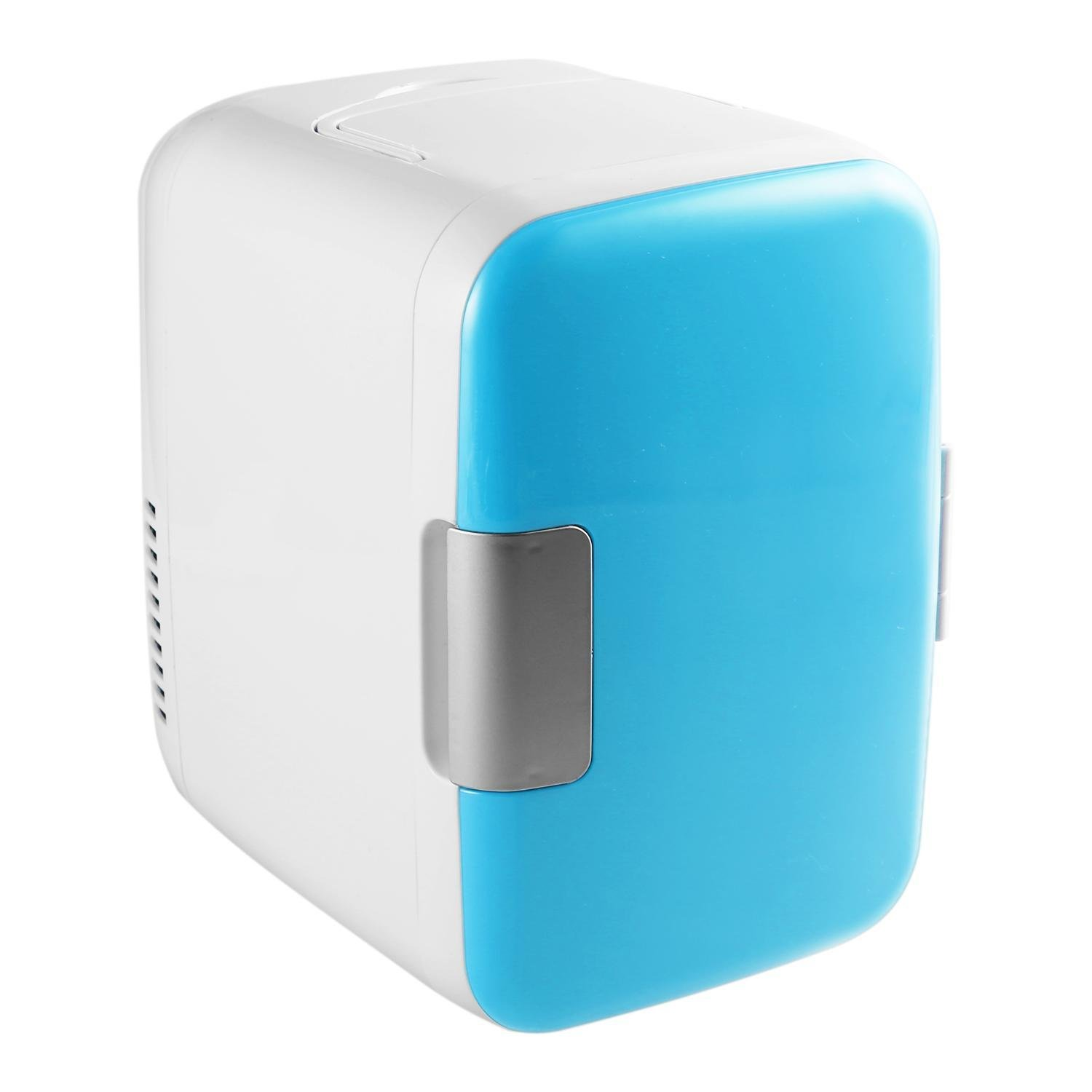 Portable Mini Fridge for Car Home Office 4 Liter 6 Can Cooler and Warmer AC & DC 110V (Blue)