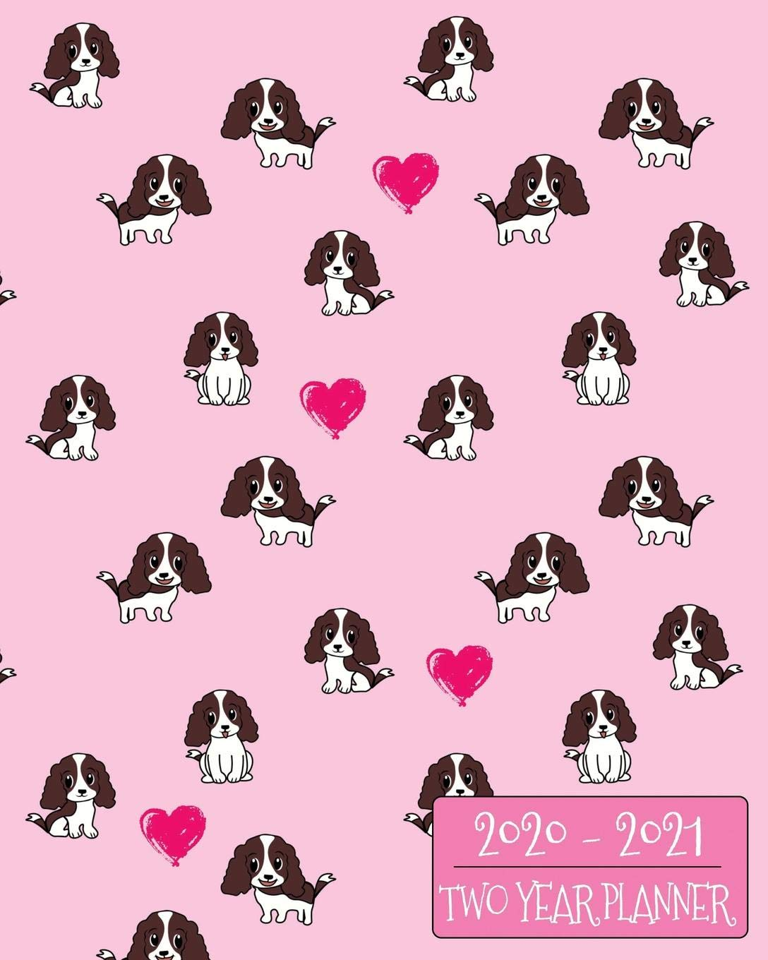 2020-2021 Two Year Planner: Sweet Spaniel Daily Weekly ...
