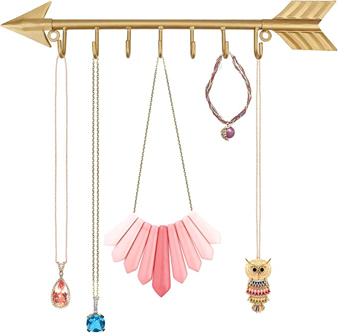 Urban Deco Wall Mounted Gold Arrow Shaped Jewelry Organizer Key Holders 7 Hooks Metal Necklace Hanging Holder For Girls And Women Gold Office Products