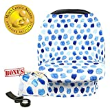Multi-Use Nursing Cover Baby Car Seat Canopy Shopping Cart Stroller Cover Stretchy Ultra Soft Infant Breastfeeding and Infinity Scarf Gift for New Mom(Blue Polka Dot)
