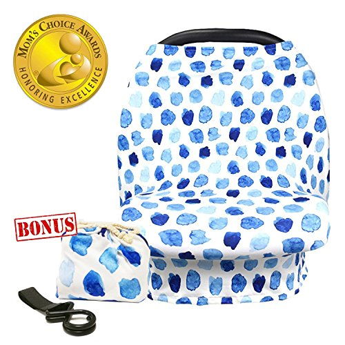 (Multi-Use Nursing Cover Baby Car Seat Canopy Shopping Cart Stroller Cover Stretchy Ultra Soft Infant Breastfeeding and Infinity Scarf Gift for New Mom(Blue Polka Dot))