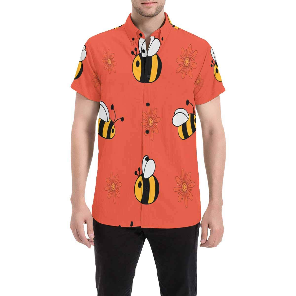 InterestPrint Bees Short Sleeve Button Down Shirts for Men