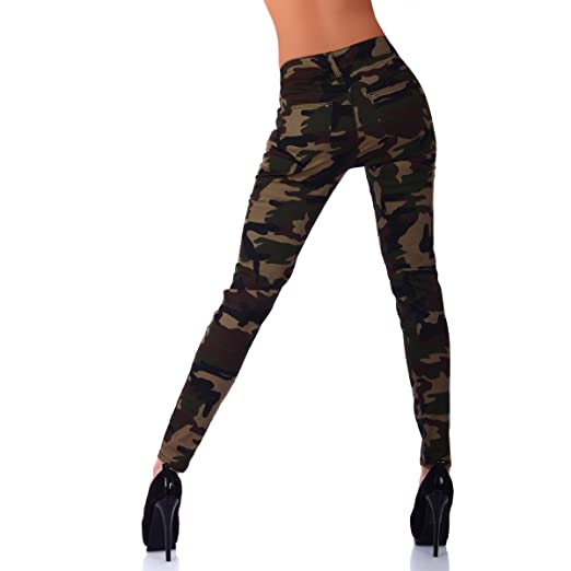 11058 Damen Hose Boyfriend Röhre Skinny Haremsstyle pants camouflage army