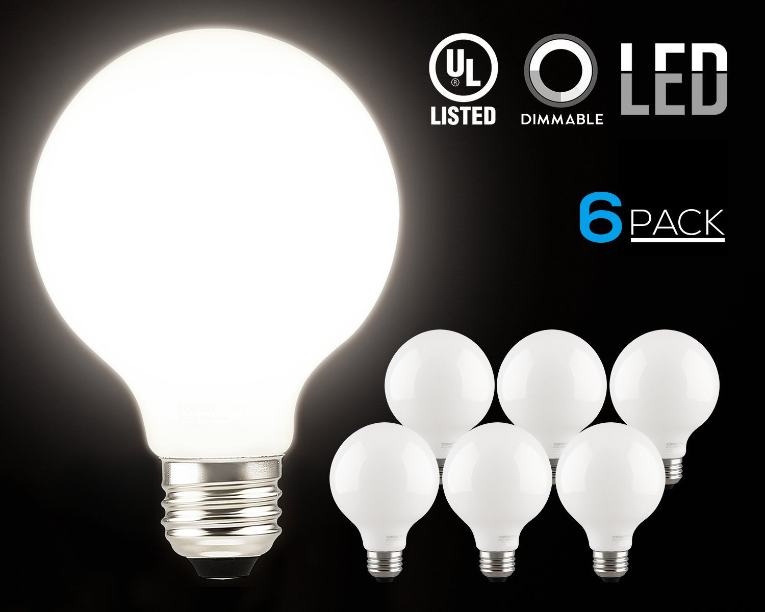 LED Dimmable G25 Globe Filament Eye Care Bulb, 5W (60W Equivalent) Decorative Frosted Milky Glass Light Bulb, UL-listed, Daylight 5000K, 360°Beam Angle, E26 Base, 2 YEARS WARRANTY, Pack of 6