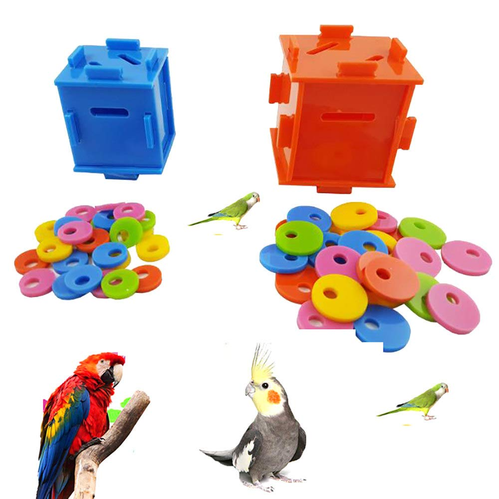 ZNZN Parrot Intelligence Toy, Parrot Toys Coin Box Puzzle Bird Toys Training Toys for Parrot Macaw African Greys Cockatoo Cockatiel Intelligence Development Toy Parrot Supplies,L by ZNZN