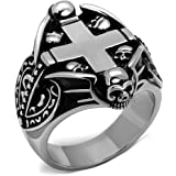 YourJewelleryBox TK2506 MENS SIGNET PINKY STAINLESS STEEL RING BIKER GOTH NO STONE CROSS SKULL