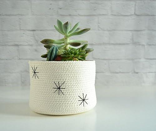 Cesto de algodón con bordado decorativo: Amazon.es: Handmade