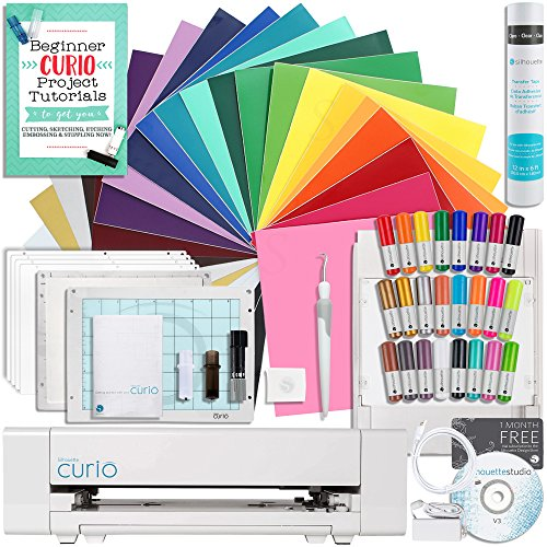 Silhouette Curio Starter Bundle with 24 Oracal 651 Sheets, Transfer Tape Roll, Guide, 24 Sketch Pens, Tools, and More by Silhouette America