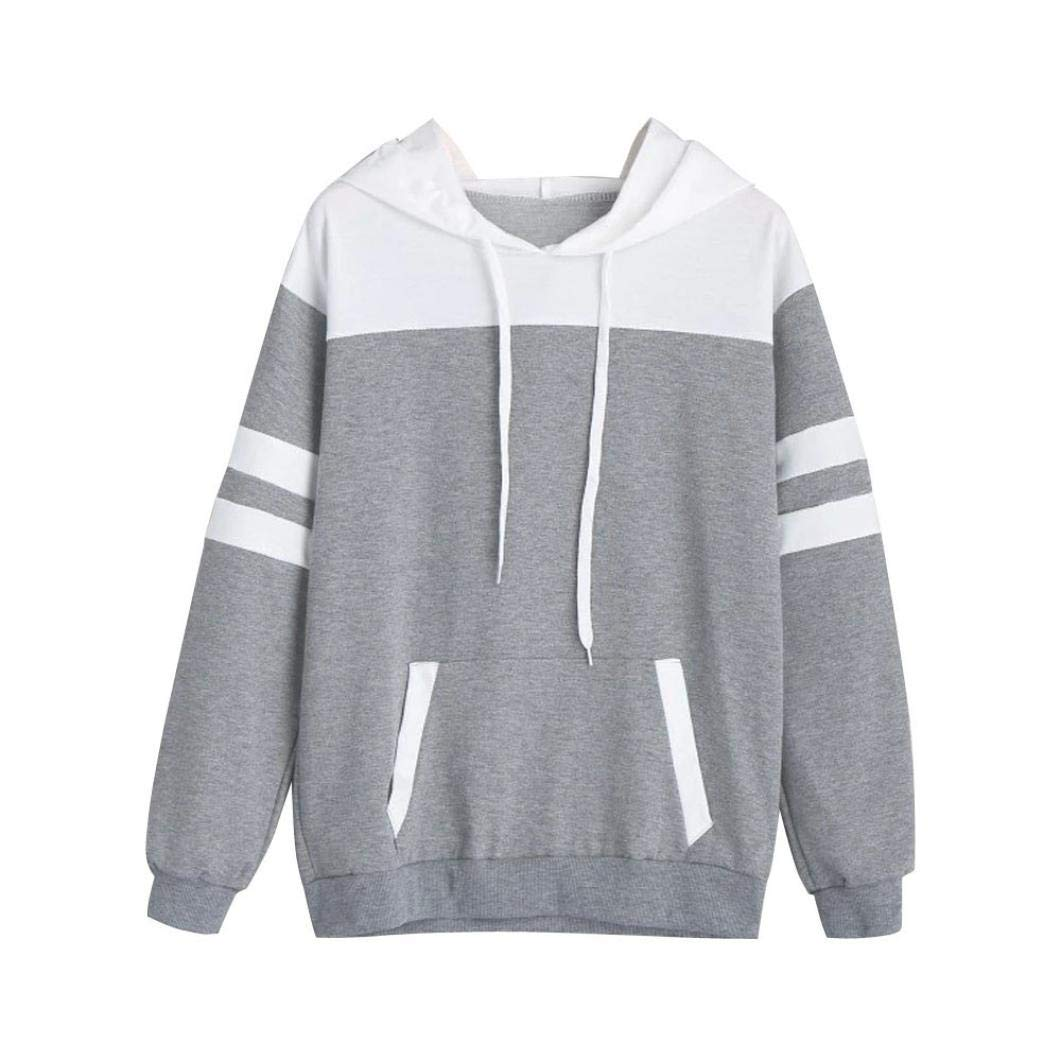 HTHJSCO Women's Hoodie Pullover Autumn Winter Warm Women Apparel Hooded Sweatshirt Blouse Tops (Gray, S)