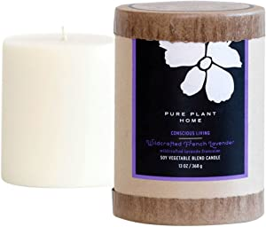 PURE PLANT HOME 3 x 3.5 Soy/Coconut Blend Pillar Wildcrafted French Lavender