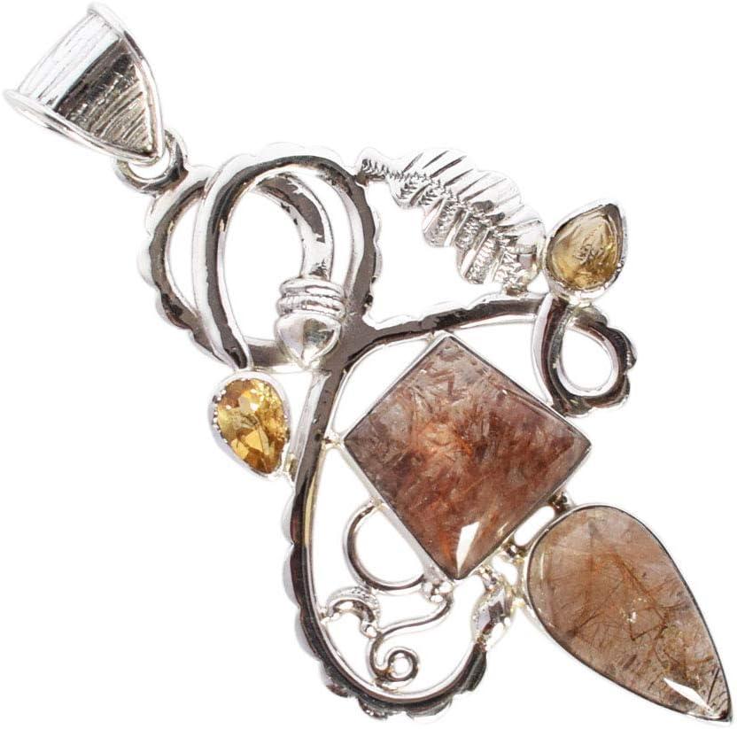 Colgante moderno de piedra preciosa dorada natural, plata de ley 925 maciza, joyería de mujer, regalo para niñas, FSJ-3275