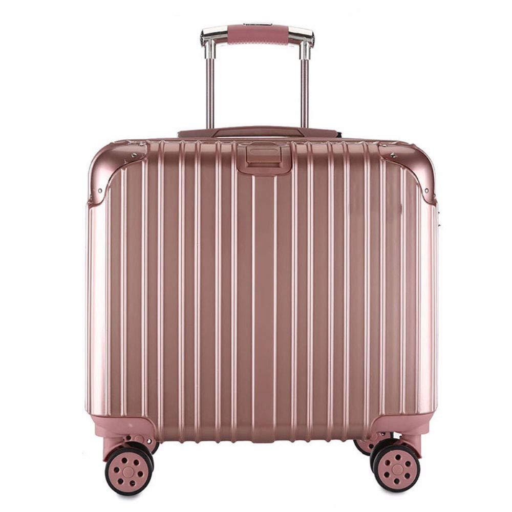 小さなスーツケーススチュワーデス搭乗ハンモック17インチビジネススーツケースの男性と女性のクロスセクショントロリーケース (Color : ローズゴールド)   B07QXK116W