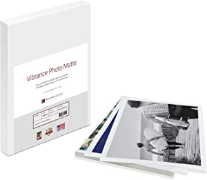 Vibrance Matte Photo Printer Paper 12 mil 255 gsm Premium Matte Photo Paper Sheets 13 x 19 inches 50 sheets Works with All Inkjet Printers Including Professional Makes and Models Like Epson Canon HP