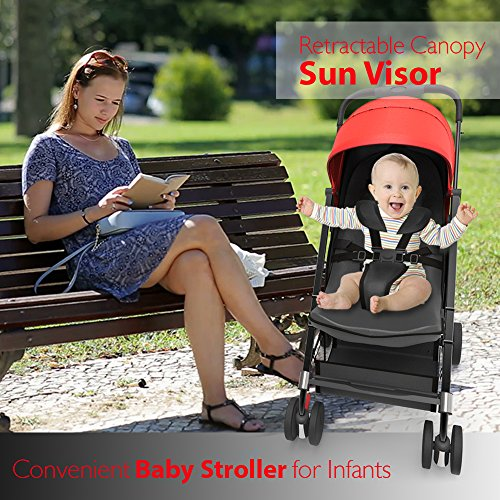Portable Folding Baby Travel Stroller - Upgraded Lightweight Foldable Compact Stroller w/Adjustable Reclining Seat, Foot-Activated Brake, Locking Front Wheels, Retractable Canopy - Jovial by Jovial (Image #5)