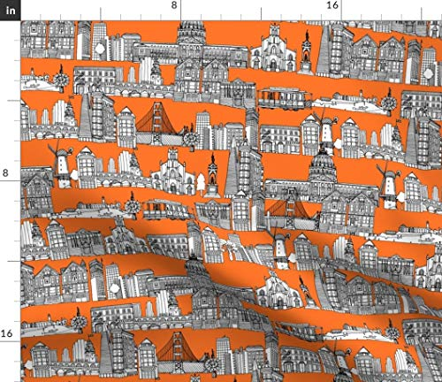Spoonflower City Fabric - Orange Drawing Illustration Toile De Jouy San Print on Fabric by The Yard - Petal Signature Cotton for Sewing Quilting Apparel Crafts Decor - Orange Toile Fabric