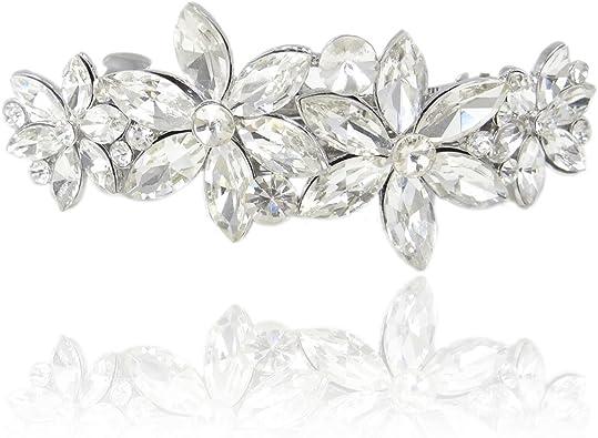 EVER FAITH/® Cristal Autrichien Mariage Fleur Perle Artificielle Peigne Ton dArgent