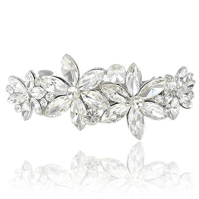 TENYE Women´s Austrian Crystal Bridal Daisy Flower Brooch Clear Silver-Tone 4TOgL7cZ