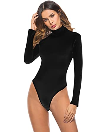 c139c8607e43 Queen.M Women s Basic Solid Bodysuit Turtleneck Leotard Top Long ...