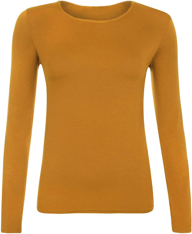 Ladies Women Basic Long Sleeve Plain Round Neck Ladies Stretch Plus Size Top T Shirt
