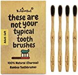Bamboo Charcoal Infused Toothbrush W/15 Degree Angle & Soft BPA Free Nylon Bristles - 100% Organic and Biodegradable Wooden Toothbrush For Adults - Pack Of 4 Best Toothbrushes For Sensitive Gums