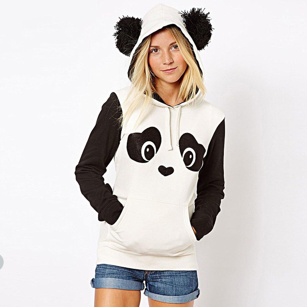 DELEY Donne Ragazze Autunno Inverno Panda Modello Manica Lunga Felpe con Cappuccio Pullover Capispalla Cappotto Hoodie Hoody