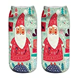 Charberry Clearance Unisex Santa Claus 3D Printed Christmas Casual Socks Low Cut Ankle Socks (J)