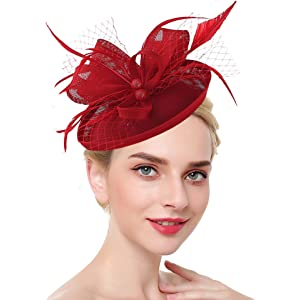 f175ffddbf23b Fascinators for Women Tea Party Hat Kentucky Derby Hat and Flower Mesh Hair  Clip and Headband