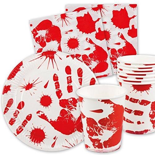 Set di 40 pezzi di Halloween   sanguinosa mano   Con piatti di carta +  tovaglioli 469ecc7f1aca