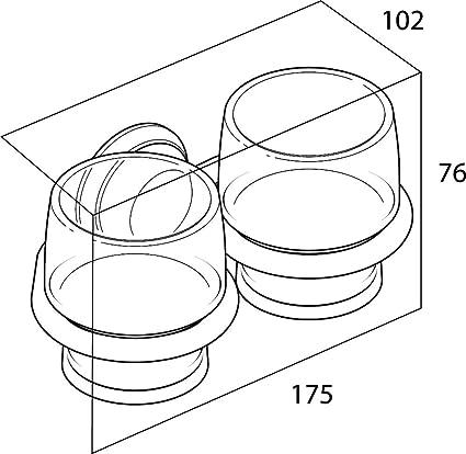 Cromo Metal Tiger Portavaso Doble y Vaso de Pared 10.2 x 17.5 x 7.6 cm