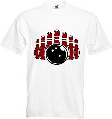 T-Shirt Camiseta Remera Torneo de Bolos Bowling Bowling Bola Smiley Malvado Cono DE LA Tarde Jugando a los Bolos Bowling en Blanco: Amazon.es: Ropa y accesorios