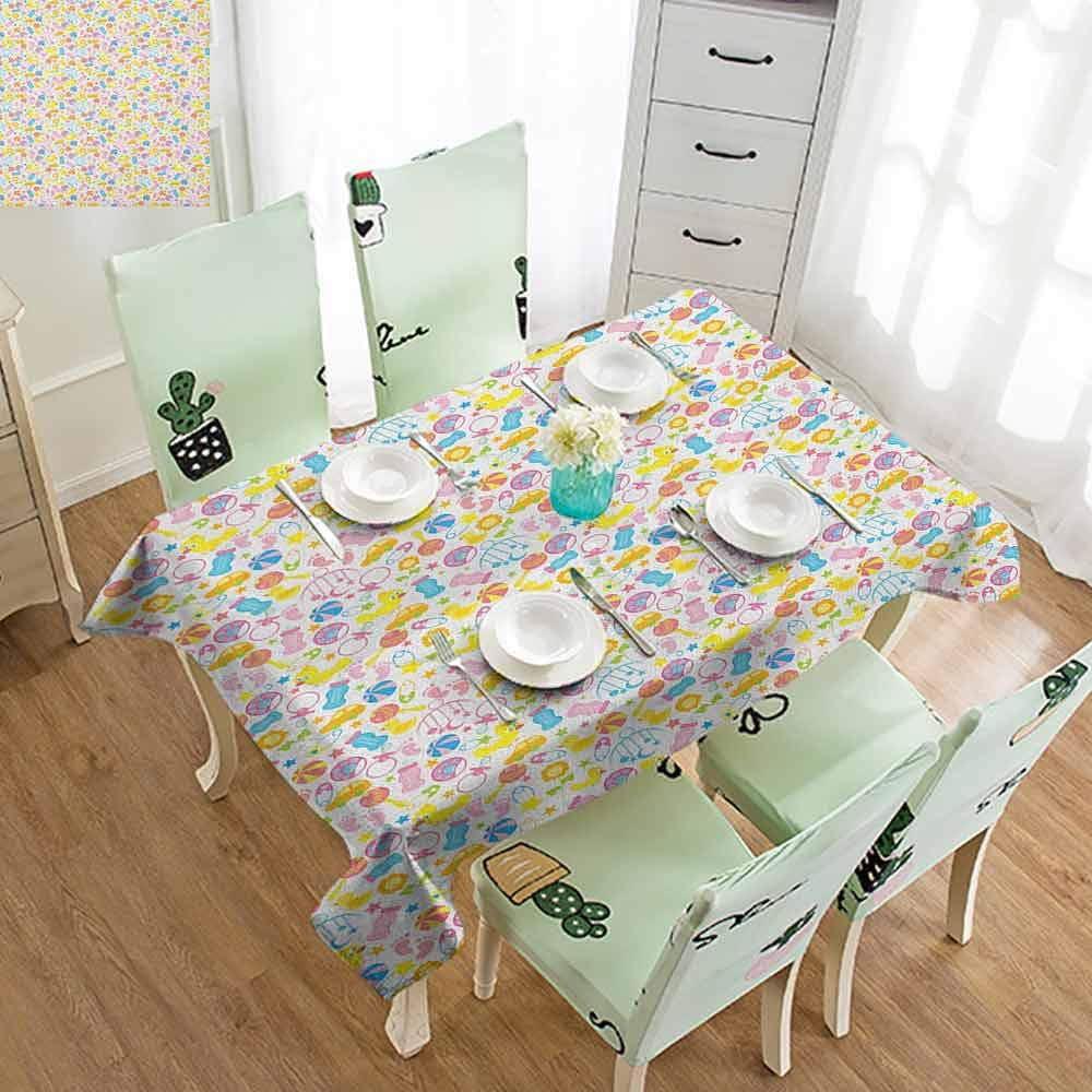 SLLART Multifunctional Table Cover Baby,an Assortment of Infant Items Toys Footprints Milk Bottles Flower Arrangement Design, Multicolor W50 xL80,Table Cover by SLLART