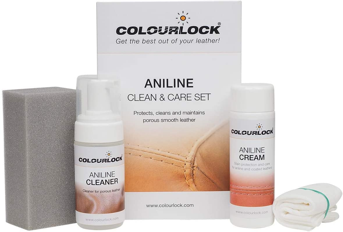 COLOURLOCK Aniline Leather Cleaning and Care Kit to protect and waterproof aniline, waxed, oily or pull up leathers on furniture suite, sofas, settee, shoes, jackets, bags and garments