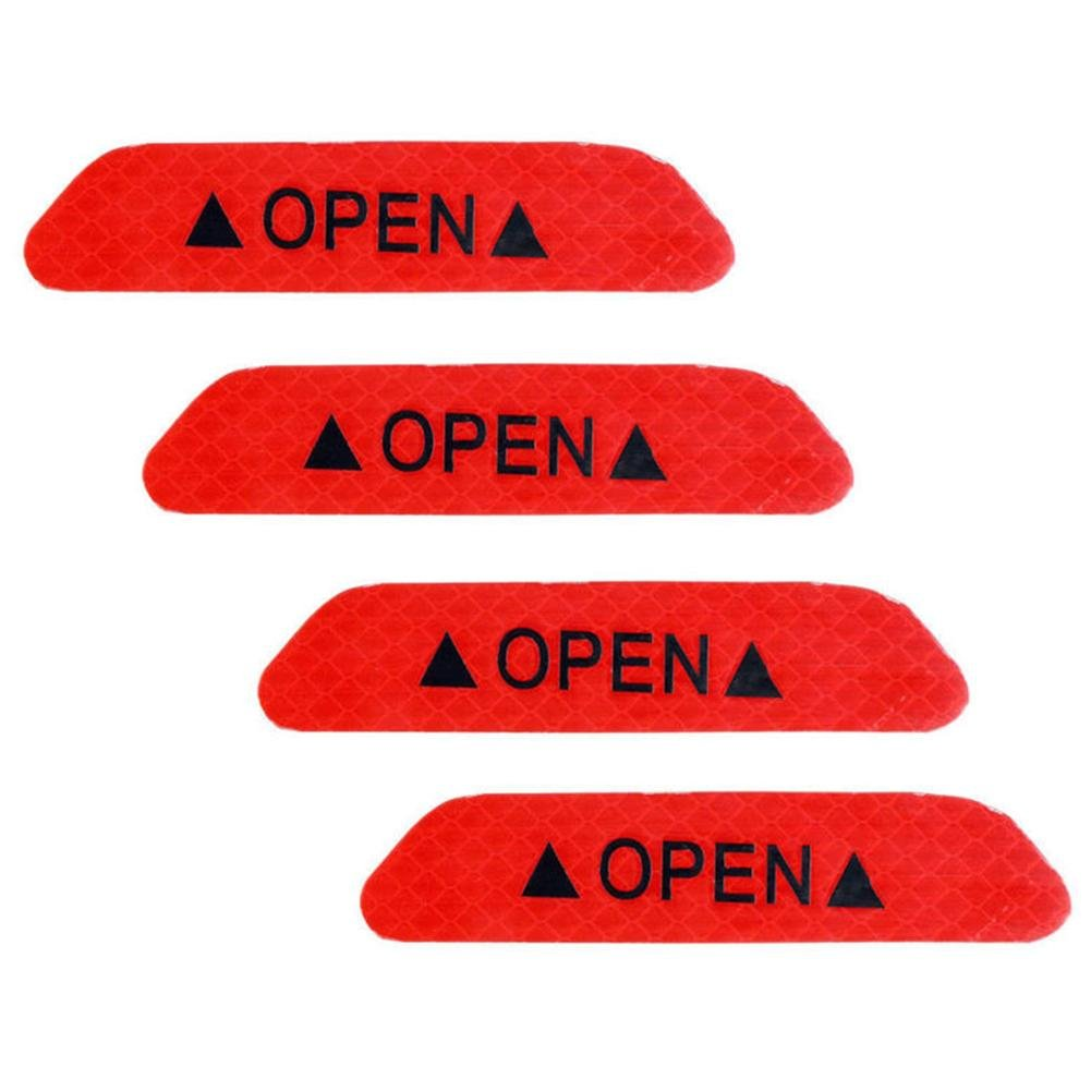RUNMIND Safety Reflective Tape Open Sign Warning Mark Car Door Stickers 4Pcs Universal
