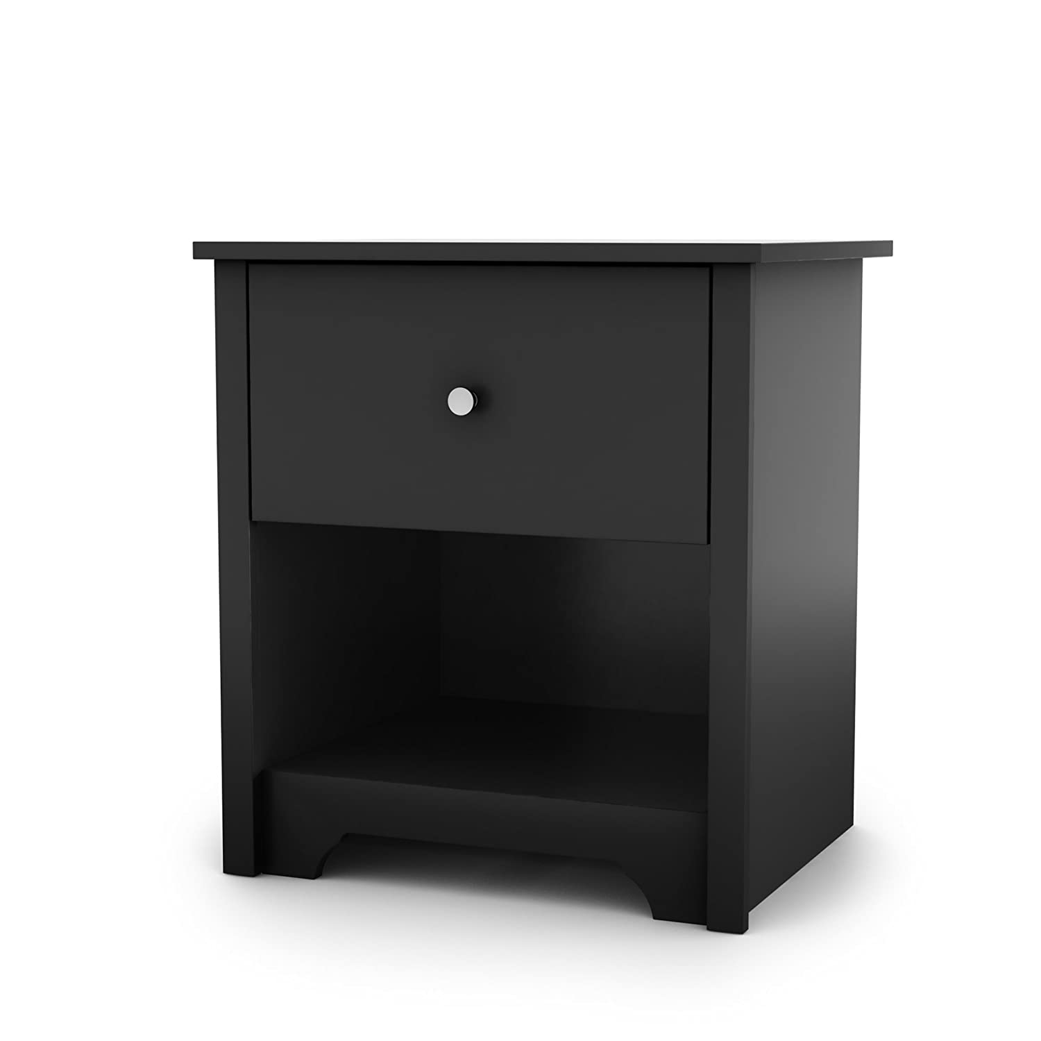 South Shore Vito 1-Drawer Nightstand, Black with Matte Nickel Handles