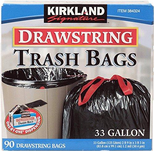 3 Wholesale Lots Kirkland Signature Drawstring Trash Bags 33 Gallon, 270 Bags Total