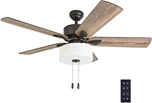 """Prominence Home 50685-01 Snowden Farmhouse Ceiling Fan (3 Speed Remote), 52"""", Barnwood/Tumbleweed, Aged Bronze"""