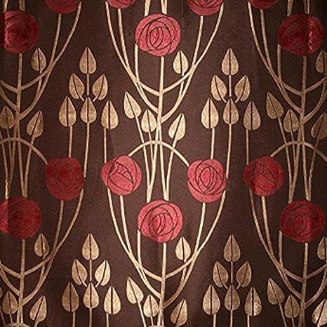 Charles Rennie Mackintosh estilo tela - Clyde turba, diseño de rosas, color marrón, marrón, 10 x 14 cm sample: Amazon.es: Hogar